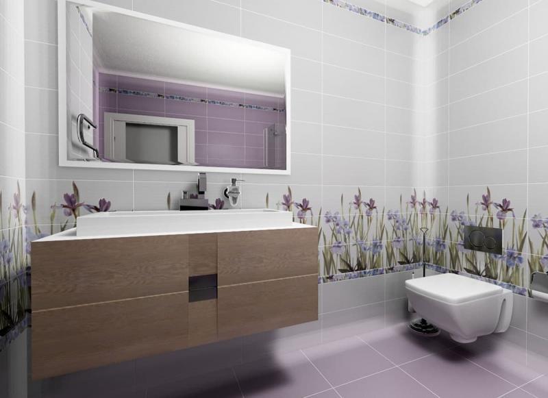 Кафельная плитка в интерьере ванной 2017 4
