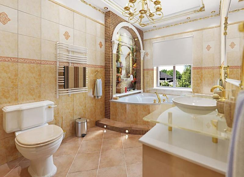 Кафельная плитка в интерьере ванной 2017 5