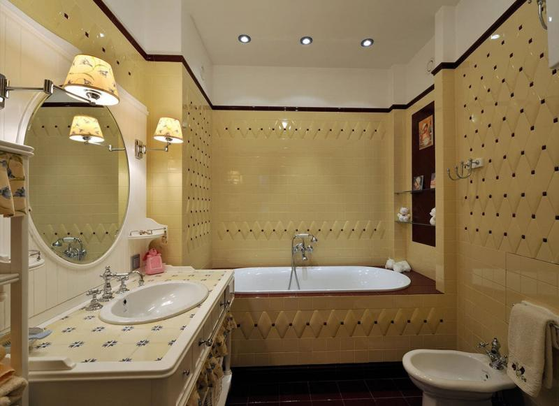 Кафельная плитка в интерьере ванной 2017 7