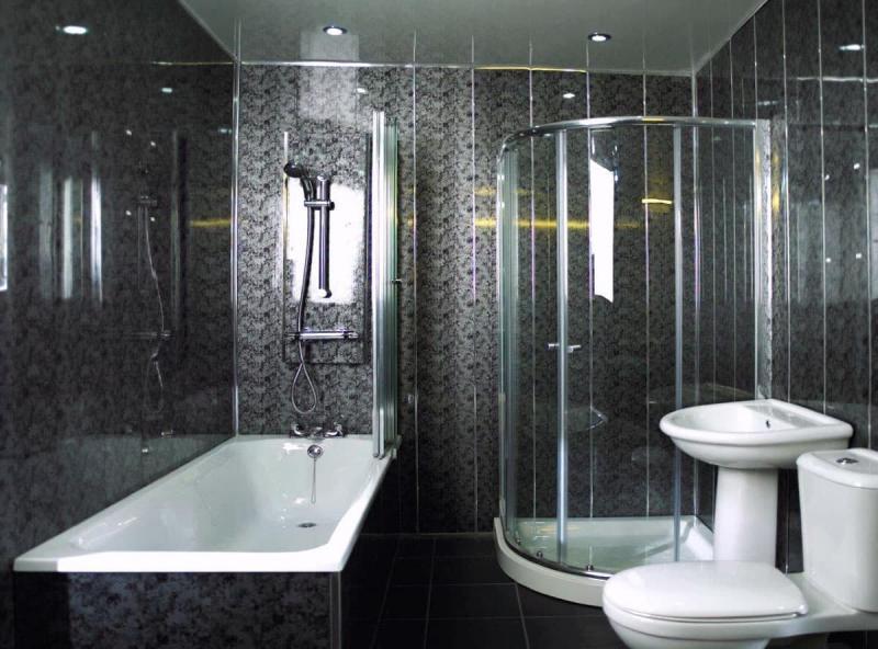 Обшивка стен ванной комнаты пластиковыми панелями 2
