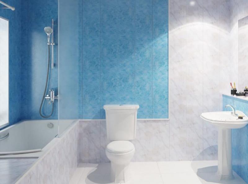 Обшивка стен ванной комнаты пластиковыми панелями 4