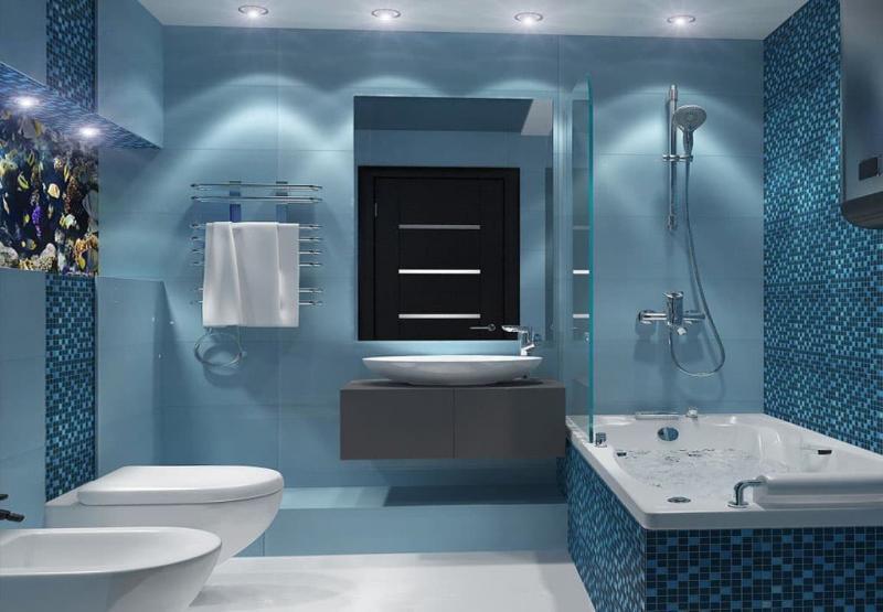 Стальная ванна в интерьере 2