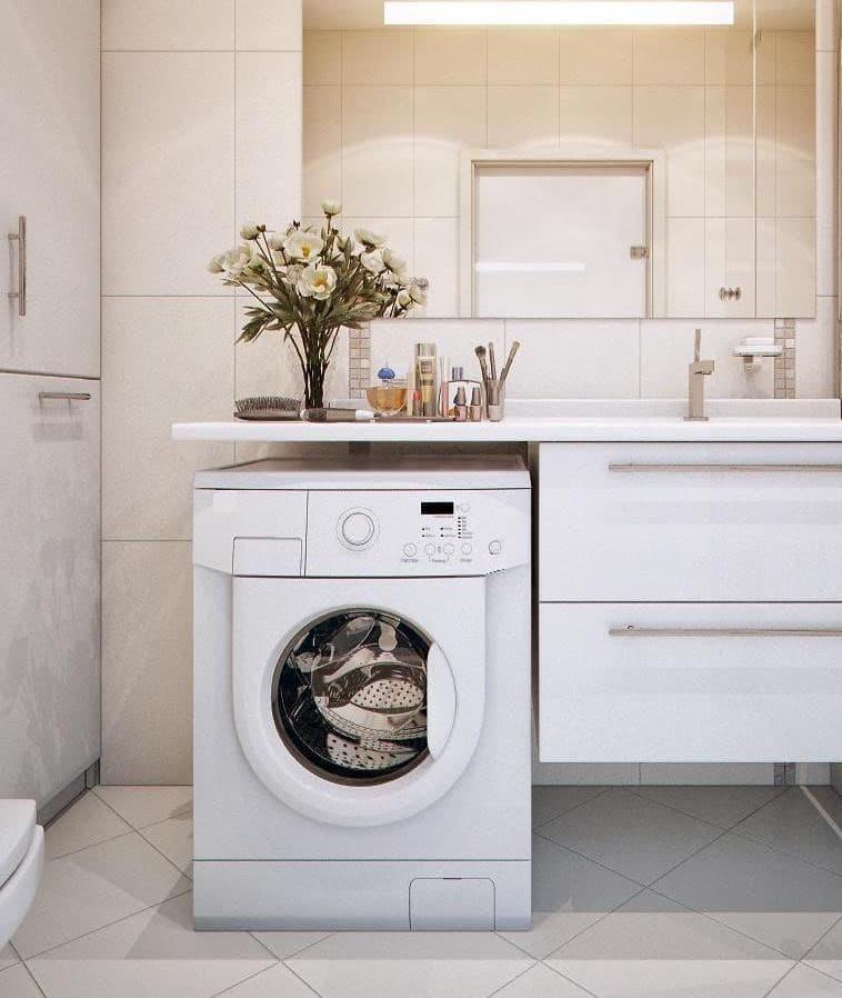 Стиральная машинка в интерьере ванной 1