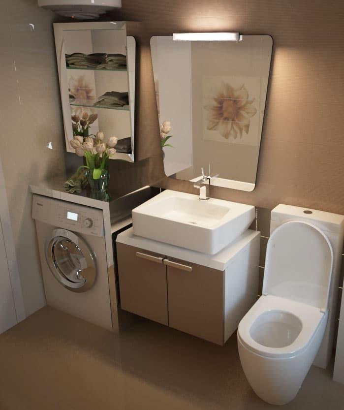 Стиральная машинка в интерьере ванной 2