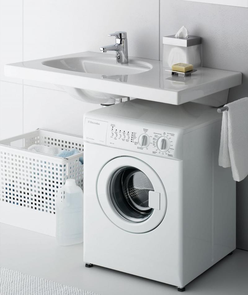 Стиральная машинка в интерьере ванной 4