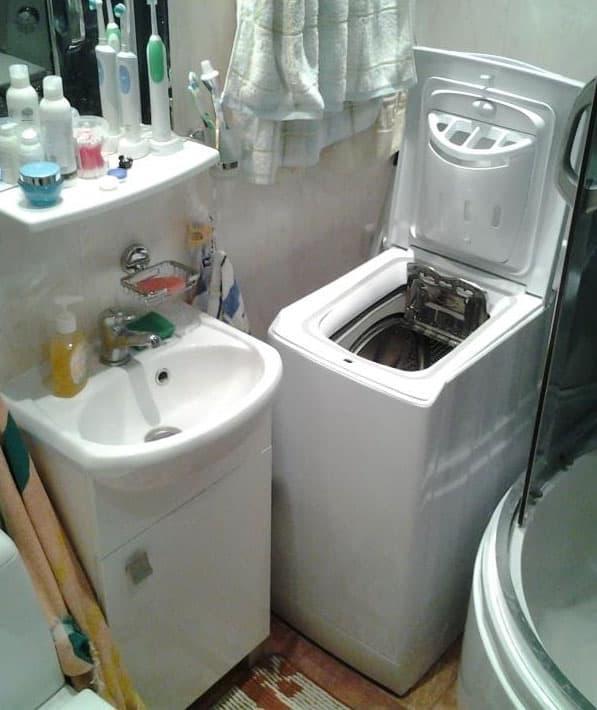 Стиральная машинка в интерьере ванной 5