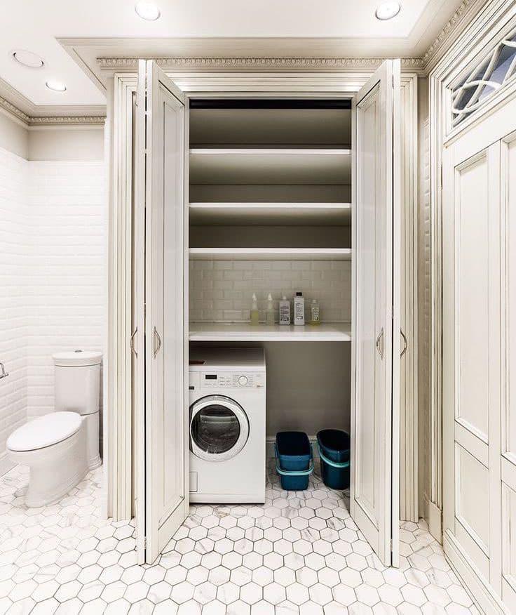 Стиральная машинка в интерьере ванной 7