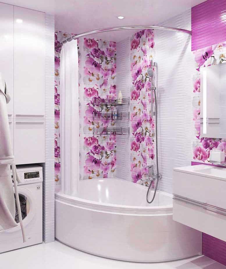 Стиральная машинка в интерьере ванной 8