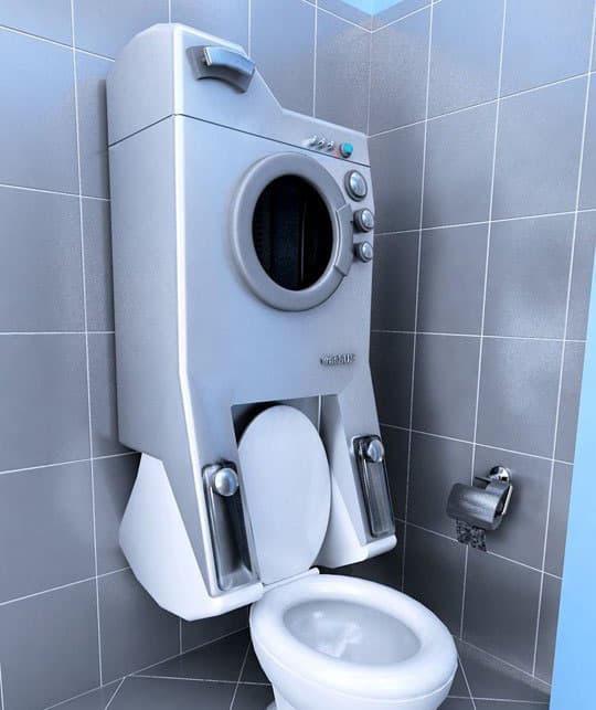 Стиральная машинка в интерьере ванной 9