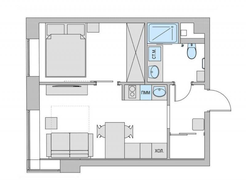 Интерьер двухкомнатной квартиры 6