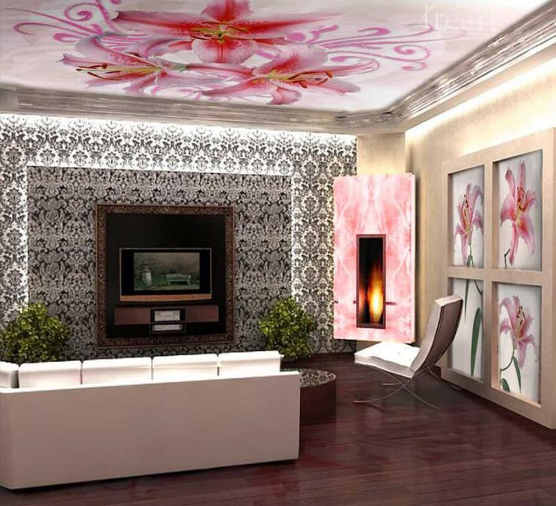 Фотопотолок в гостиной 1