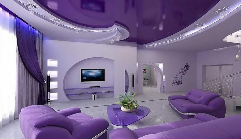 Натяжные потолки в гостиной 1
