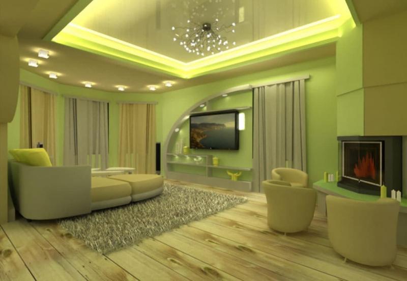 Натяжные потолки в гостиной 2