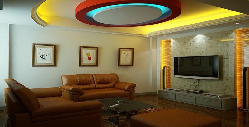 Потолок из гипсокартона в гостиной 1