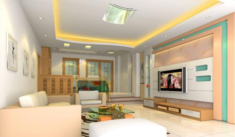 Потолок из гипсокартона в гостиной 2