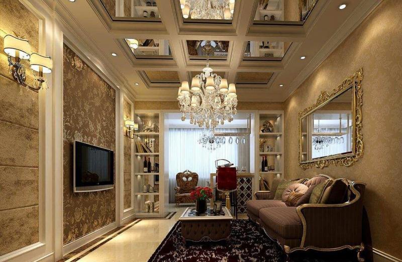 Зеркальный потолок в гостиной 4