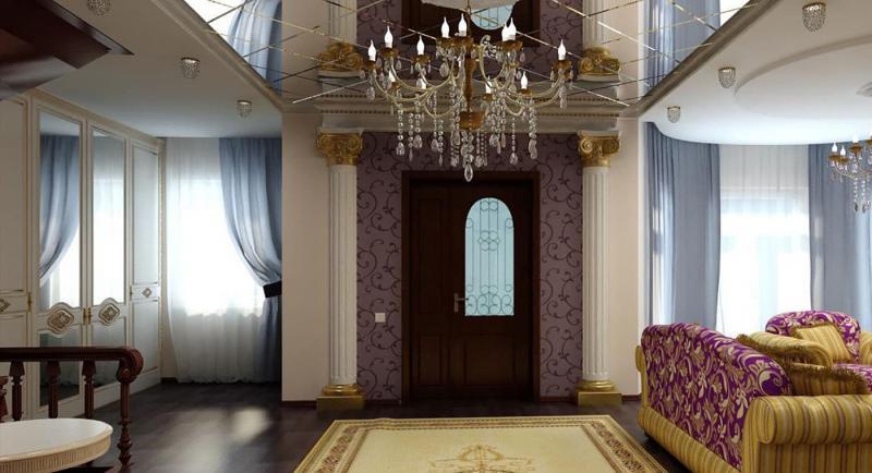 Зеркальный потолок в гостиной 5