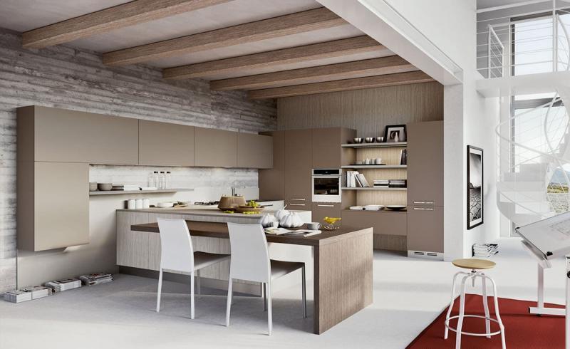 Кухня в бежевом цвете 2