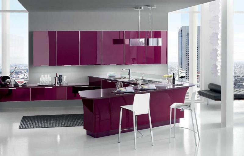 Кухня в фиолетовом цвете 3