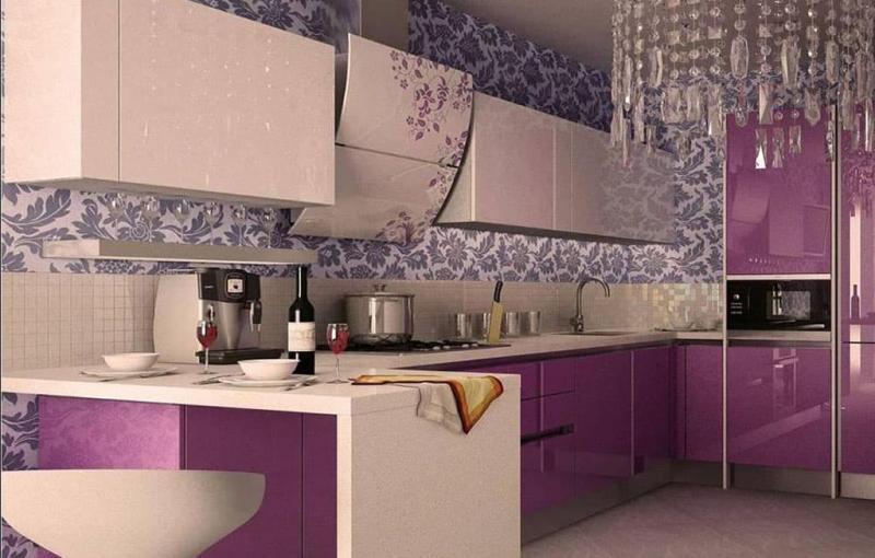 Кухня в фиолетовом цвете 5
