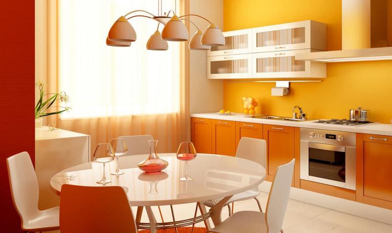 Кухня в оранжевом цвете 1
