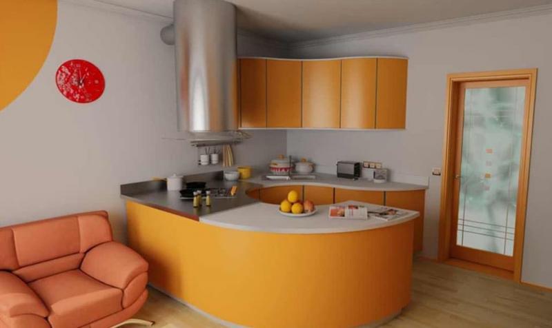 Кухня в оранжевом цвете 3