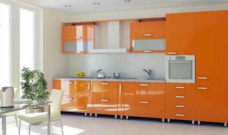 Кухня в оранжевом цвете 5