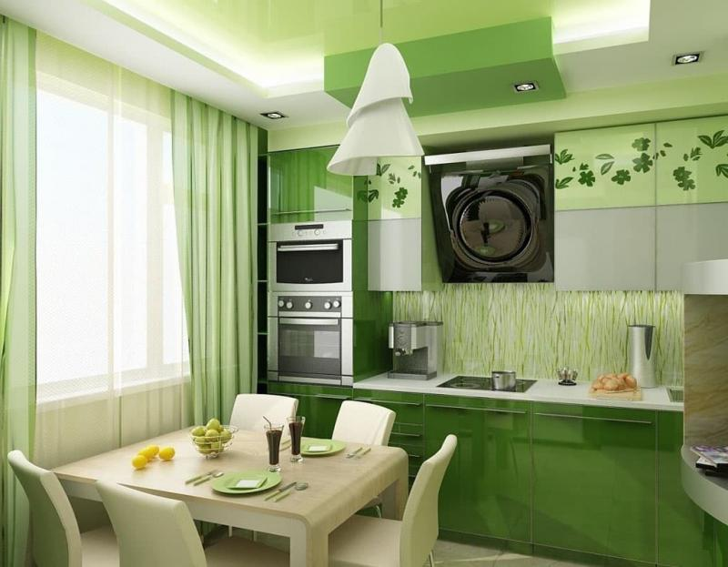 Кухня в зеленом цвете 3