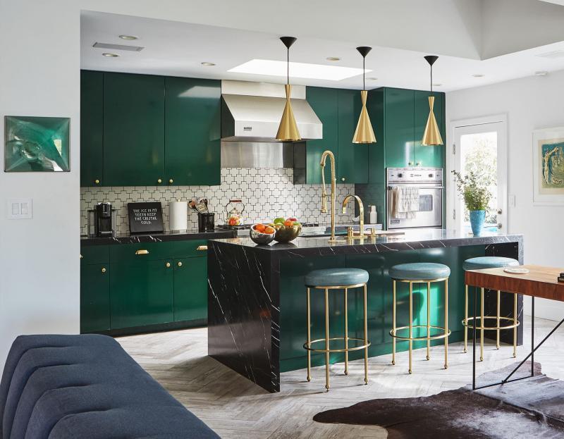 Кухня в зеленом цвете 4
