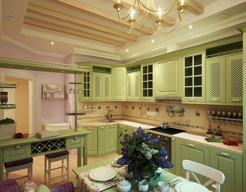 Кухня в зеленом цвете 5