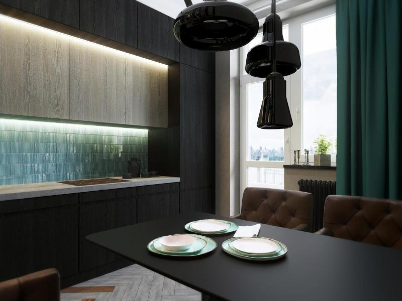 Кухня с прямой планировкой (Арт-студия МИР, г. Москва) 2