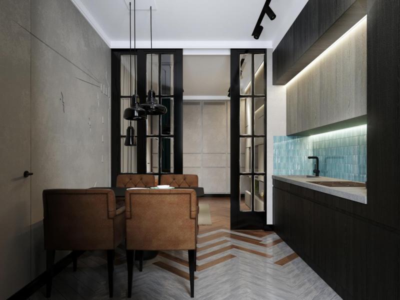 Кухня с прямой планировкой (Арт-студия МИР, г. Москва) 4