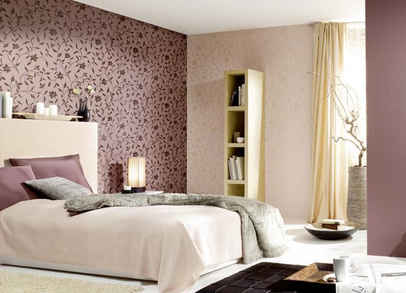 3 вида обоев в интерьере спальни 1