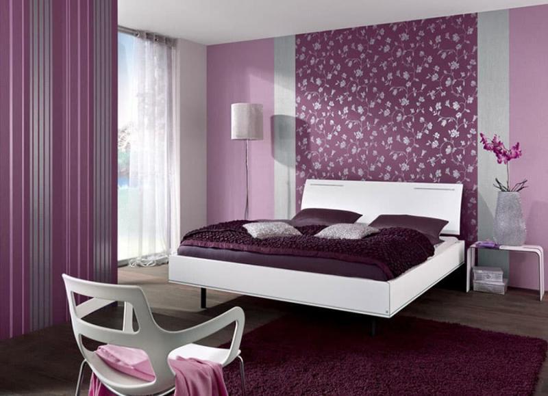 3 вида обоев в интерьере спальни 2