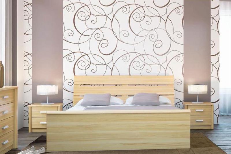 Крупный рисунок обоев в интерьере спальни 1