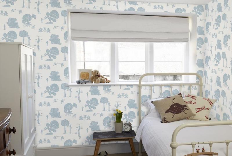Крупный рисунок обоев в интерьере спальни 4