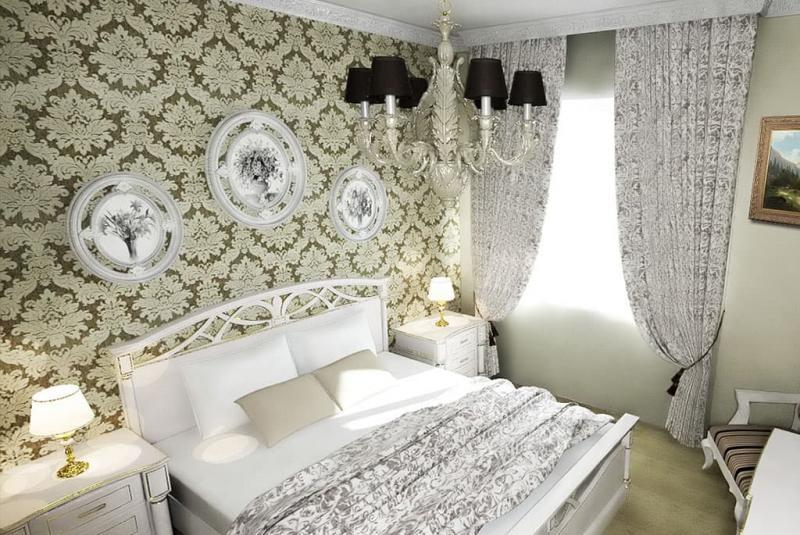 Крупный рисунок обоев в интерьере спальни 6