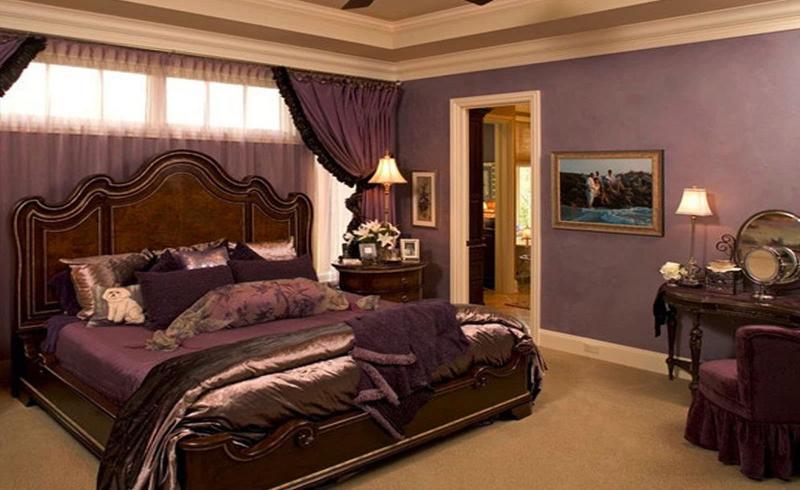 Однотонные обои в интерьере спальни 2