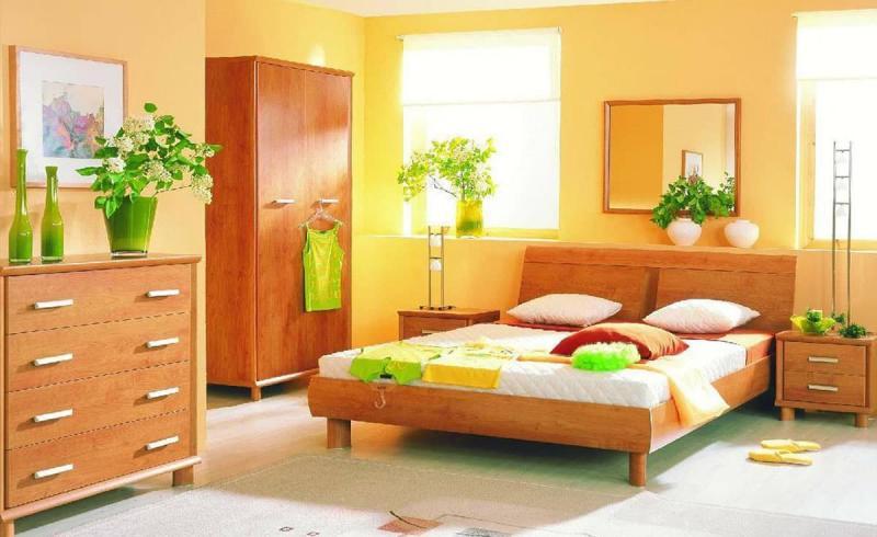Однотонные обои в интерьере спальни 5