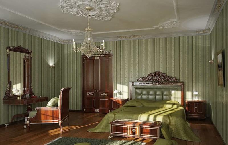 Полосатые обои в интерьере спальни 2
