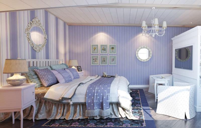 Полосатые обои в интерьере спальни 3