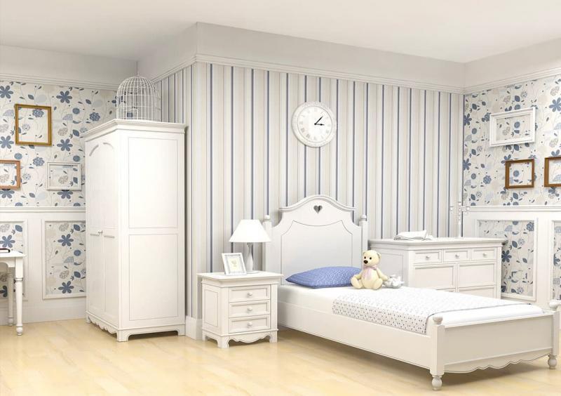 Сочетание 2х видов обоев в интерьере спальни 1