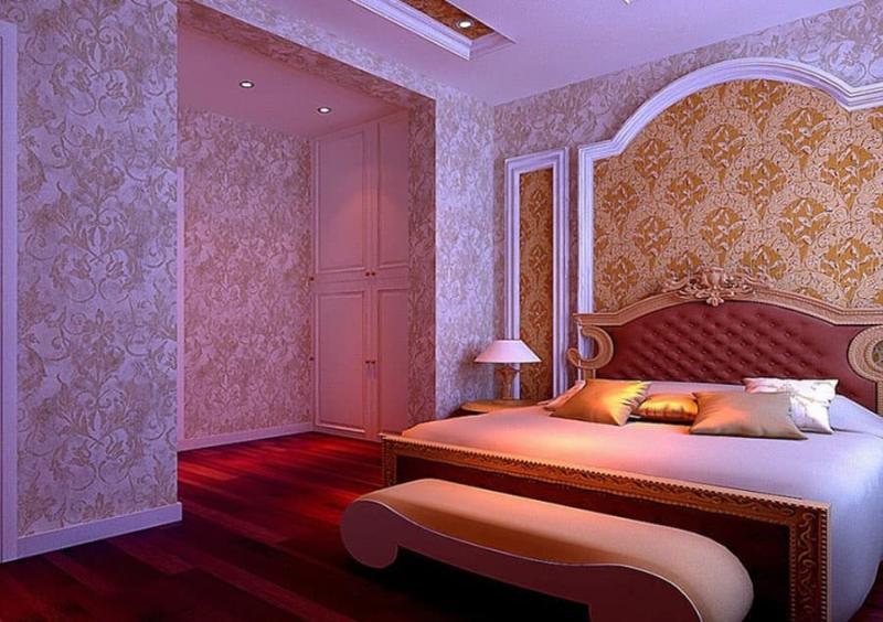 Сочетание 2х видов обоев в интерьере спальни 2