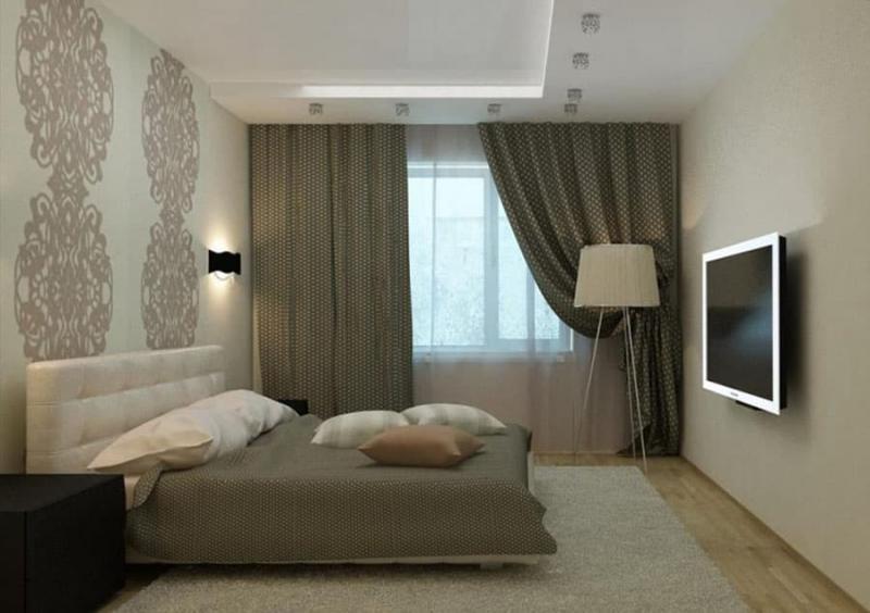 Сочетание 2х видов обоев в интерьере спальни 3