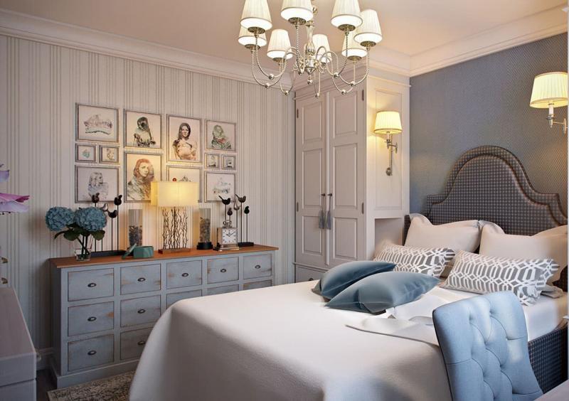 Сочетание 2х видов обоев в интерьере спальни 5