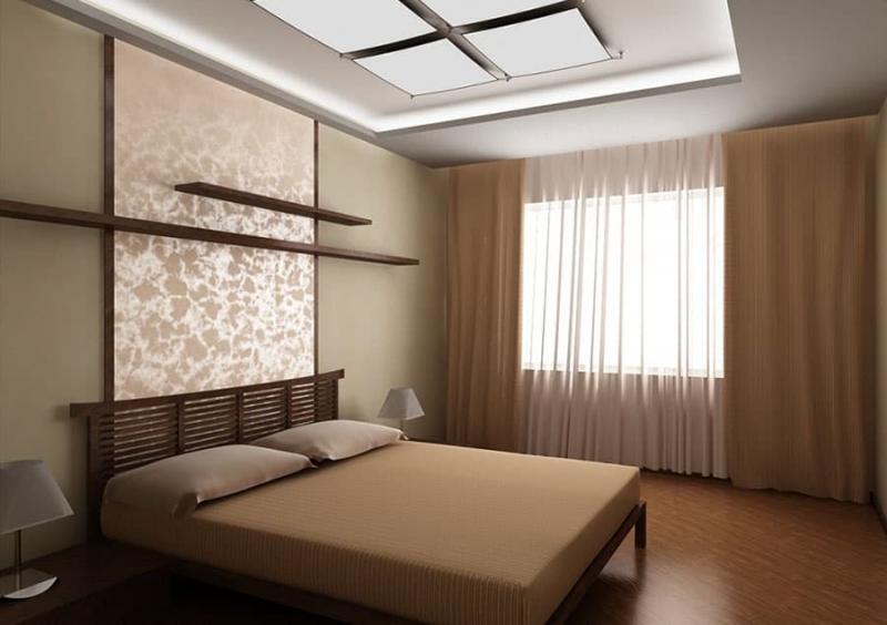 Сочетание 2х видов обоев в интерьере спальни 6