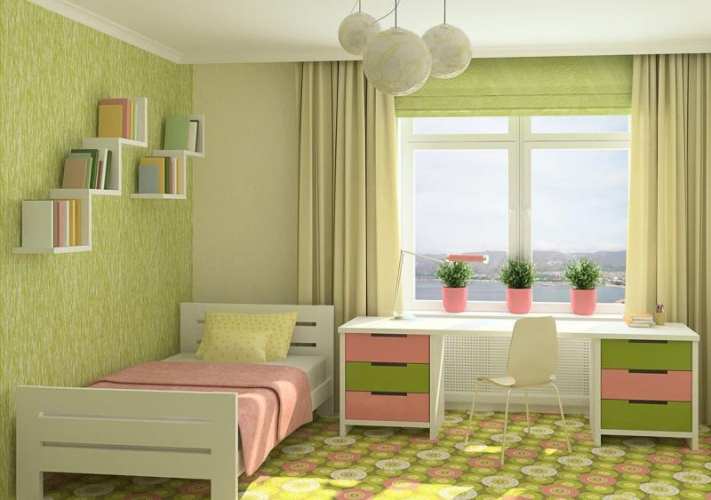 Сочетание 2х видов обоев в интерьере спальни 7