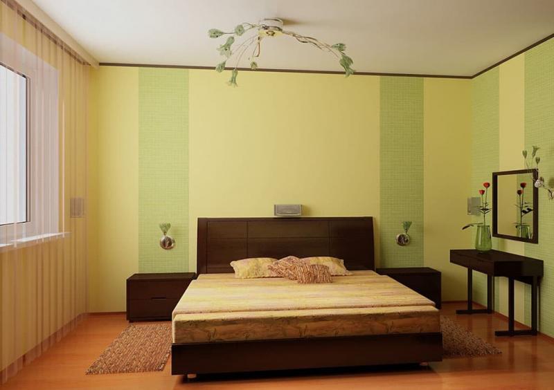 Сочетание 2х видов обоев в интерьере спальни 8