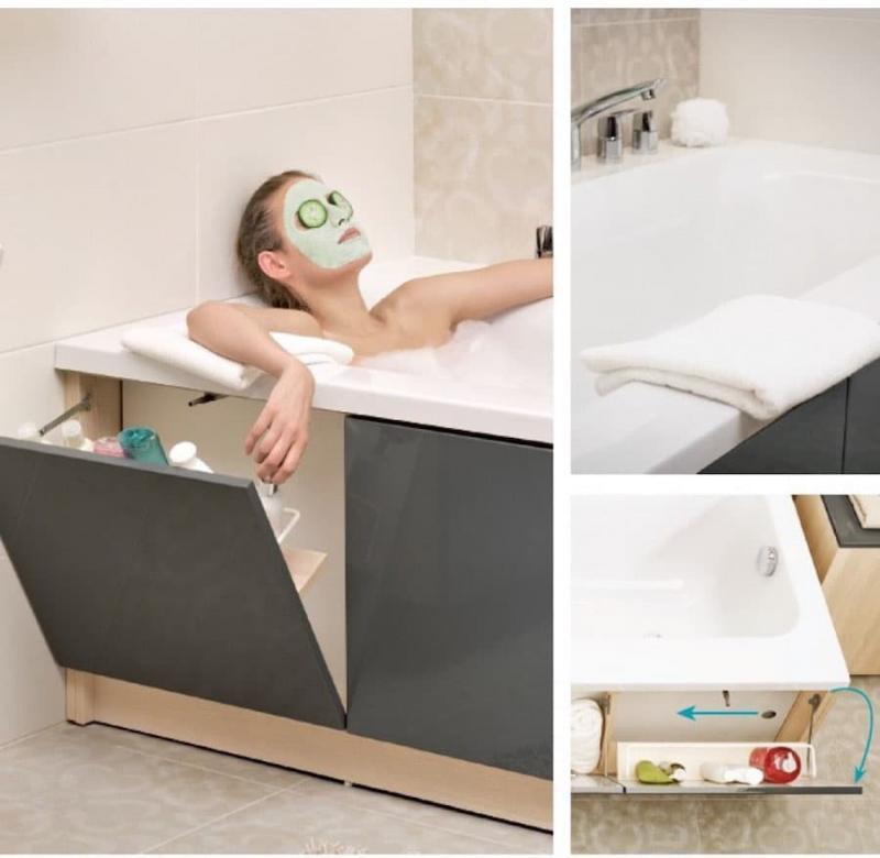 Откидной ящик в интерьере ванной 1