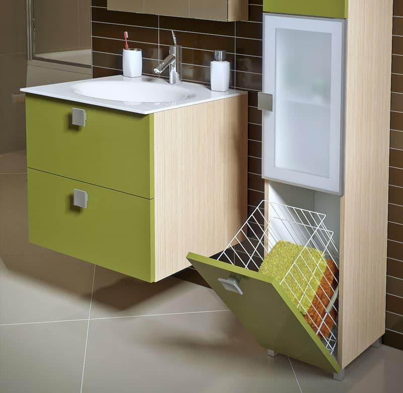 Откидной ящик в интерьере ванной 4